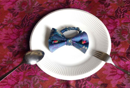 Papa's Bow Tie- tie restructuring embossed antique handmade cloth flowers hair band - Miss Venice Venice lady