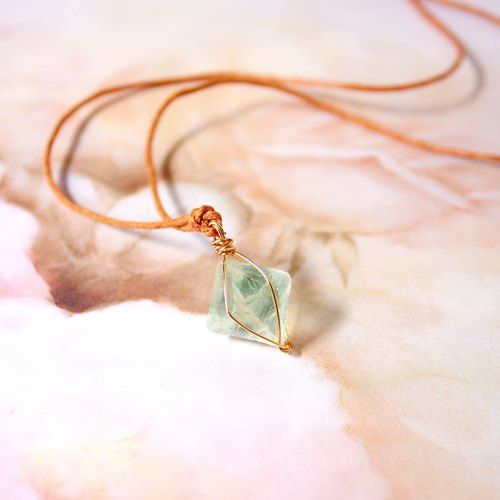 Handmade Natural Green Fluorite stone necklace, Crystal Necklace