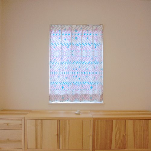 """MoRi MoRi"" Custom made curtains [ ""Hane to shizuku"": Blue & Purple ] W 50cm- 95cm / L 50cm-120cm"