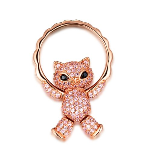 Naughty Pussycat Dolls Pink Rhinestone 925 Silver Ring / Pendant with items rope