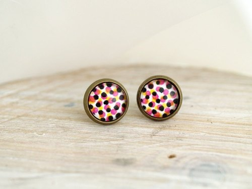 ♥ ♥ OldNew Lady- made small gifts small circular earrings - colorful red, black and white color point [point]