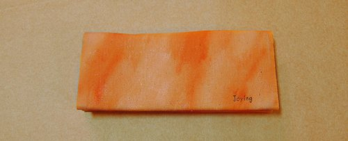 (Christmas gift sale in)Small orange hand-dyed long wallet (free branded with English words Oh!)