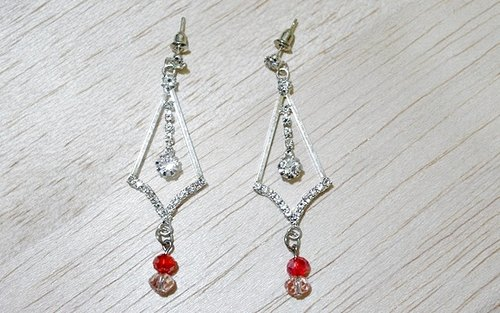 Alloy X rhinestone pin earrings * banquet * _ Limited X1