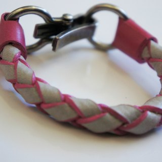 Kraft shares gray roll edge knitting pink leather cord bracelet models of industrial wind cramping metal buckle hand-made leather PdB New York