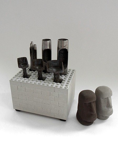 Cement blocks umbrella holder, tool holder