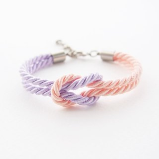 Peach and Lavender rope knot bracelet
