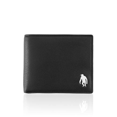 OBHOLIC Italian soft cowhide face basic section short clip male clip wallet (black)