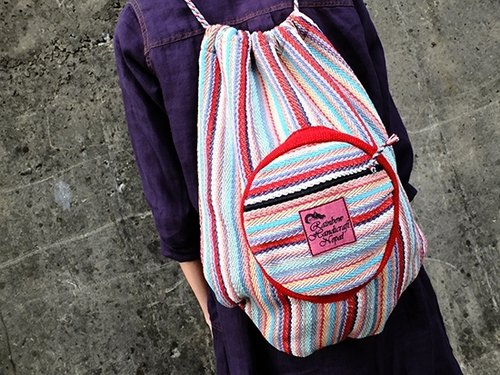 < Taiwan's exclusive hand-woven > Nepal RHN beam port Backpack (Pink color pattern)