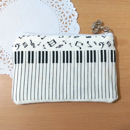 "【Piano Coin Purse (Keypad)】 Musical Instrument Notes Five-line Piano Keyboard Japanese Cotton Hand-made Customized ""Misi Bear"" Graduation Gift"