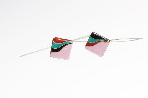 Curves Earrings curve square enamel earrings (pink)