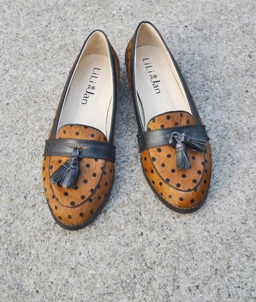 Collectors [Central Europe] horsehair flow Sule Fu shoes _ dot coffee