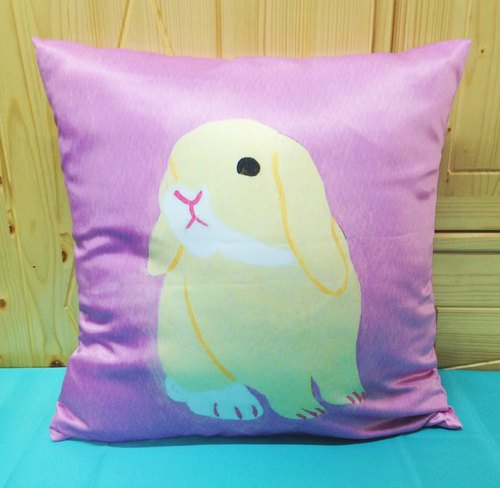 Hand-painted rabbit pillow pillowcase