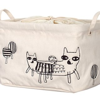 Blue Fox - Chinese Embroidery + Printing Storage Bag
