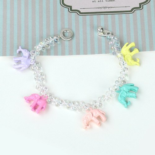 Lucky Elephant transparent multicolored beaded bracelet