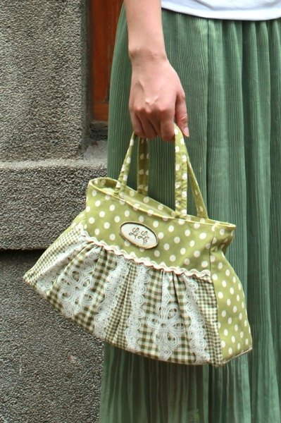 Paris feelings series - apple green jade lace print discount bag