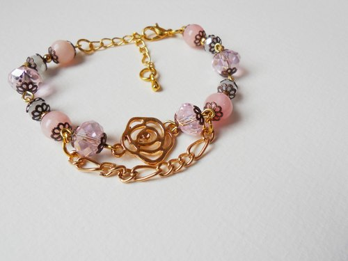 YULU TENG natural stone / m yellow jade. Rose double bracelet (pink)