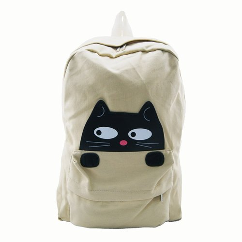 Cute little black cat childlike style canvas backpack white spot for sale - Cool Le Village