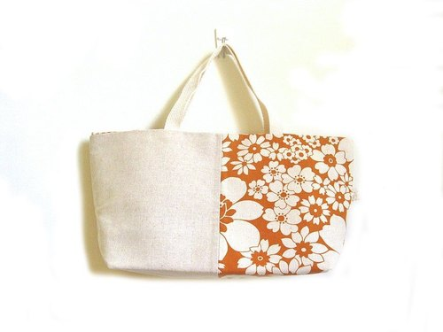 Handmade handbag / shoulder bag orange flowers