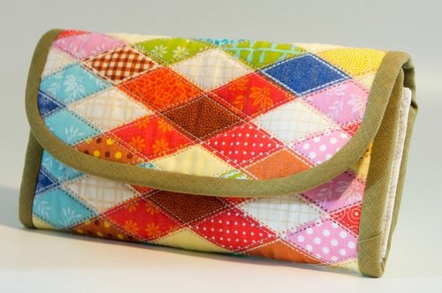Love the Earth hand-made bag * American style gingham handmade flower long clip | choose your favorite fabric