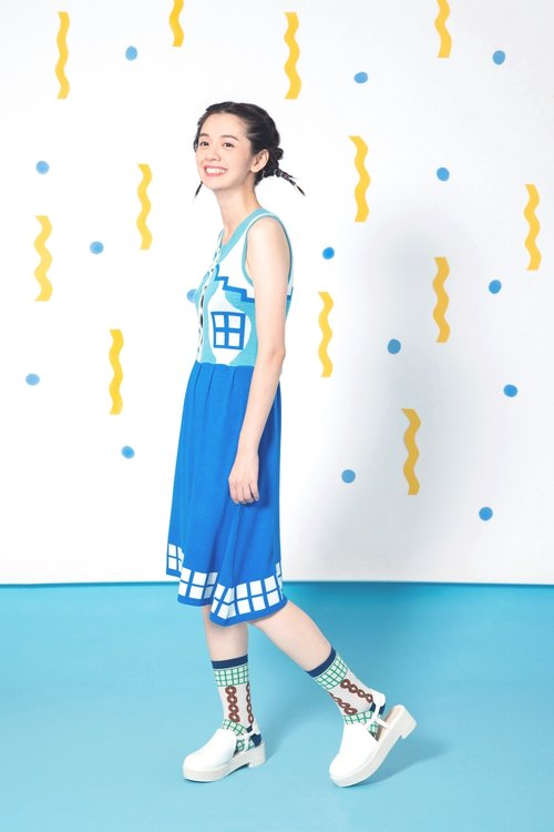 Sky Blue Vacation House Button Up Dress