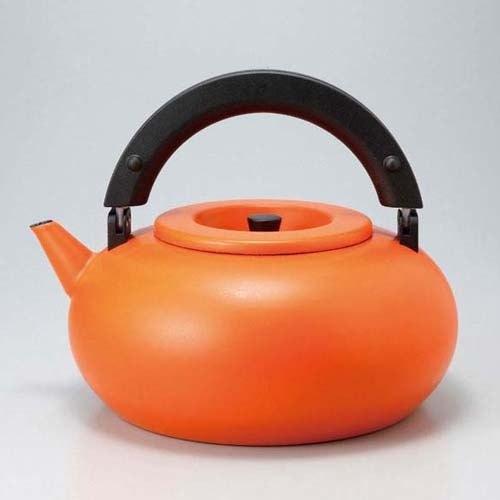 CB Nordic series dual enamel marshmallow tea pot / filter attached - - Smile Orange