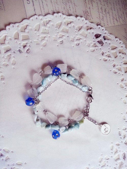 3 with natural stone design Bracelet: Moonstone + Cao gray stone needle