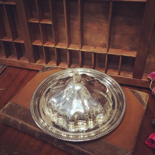 English silver plated tray with a lid