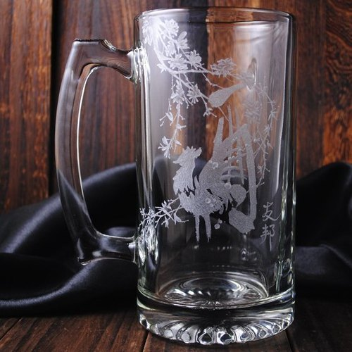 [740cc] Chinese zodiac mug zodiac Rooster painting large capacity Cheers !! booze beer mug Rooster Customized