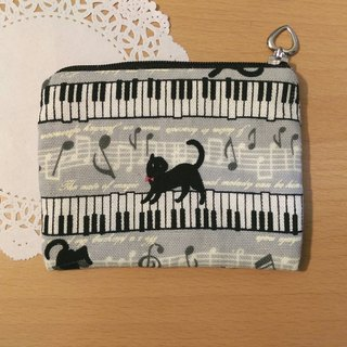 "【Piano and Black Cat Coin Purse (Gray)】 Musical Instrument Notes Five-line Piano Keyboard Cotton Hand-made Customized ""Misi Bear"" Graduation Gifts"