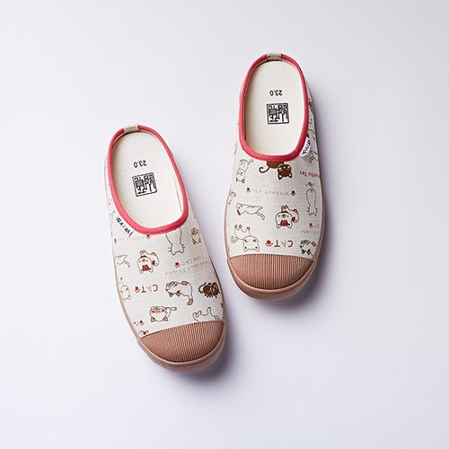 The last three pairs on the 26th day chocolate cat [lazy] canvas insole Edition / Walking slippers
