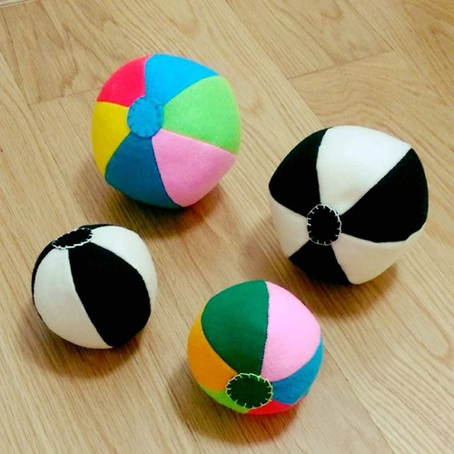/ Manual design / Baby Game Series - black and white & color bell cloth ball set