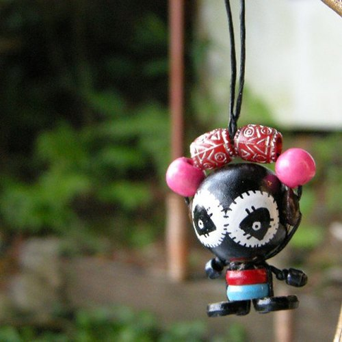 < small travel time > Ob's wooden bead painted doll NO.28