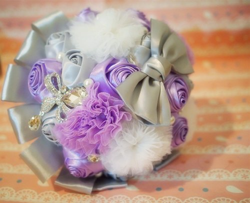 Pearl silver purple chiffon ribbon flowers ball wedding bouquet bridal bouquet wedding gifts