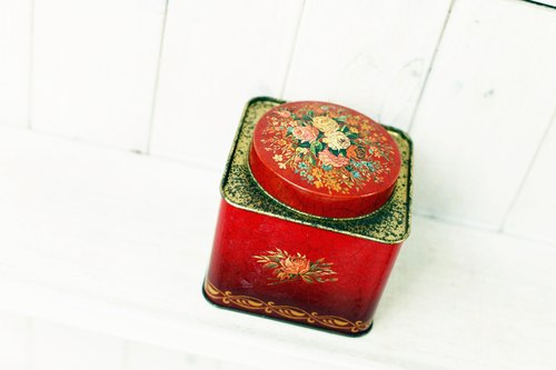 Good day [fetish] British VINTAGE flowers tin