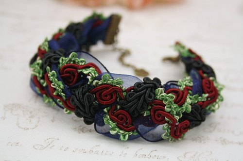 Romantic Rose dual woven bracelet / necklace vintage lace chiffon red spell basket copper gorgeous knot