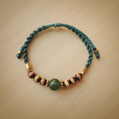 Forest / Natural stone x Brazilian wax silk cord bracelet