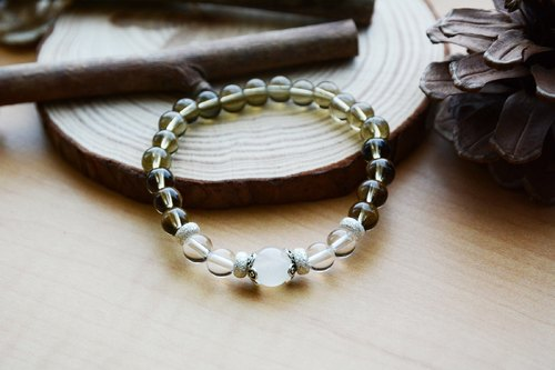 Moonstone gem carved natural white crystal citrine silver accessories elastic bracelet