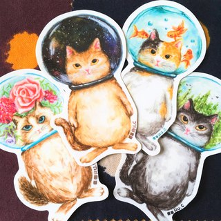 Cats in Glass Bowl Stickers