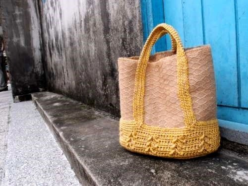 Picnic Tote - Gold wheat hand-woven ramie