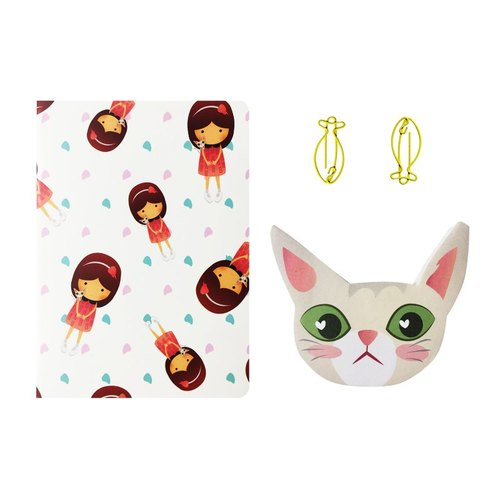 Png Kueh Girl And Kucinta Cat Fishy Stationery Set 饭粿女孩与猫咪文具组合