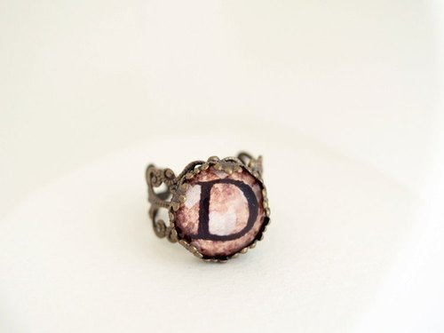 ♥ valentines ♥ ​​OldNew Lady- bronze ring letter [D]