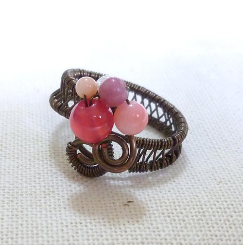 PINK super pink retro feel sketch Ring