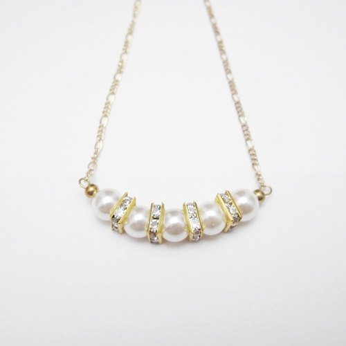 [Orange] MUCHU Mu Miss Pearl. Brass pearl diamond necklace PN013