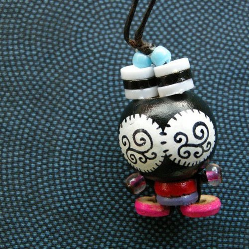 < small travel time > Ob's wooden bead painted doll NO.21