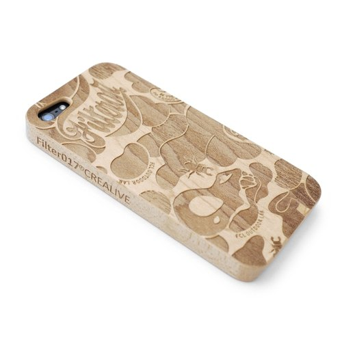 Filter017 手機殼 (iPHONE5 / 5S適用) - LAND OF LOST CAMOUFLAGE WOOD ENGRAVED iPHONE5 CASE (木製雕刻 iPHONE5保護殼)