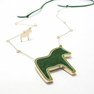 Handmade Dala Horse Pendant Necklace in metal