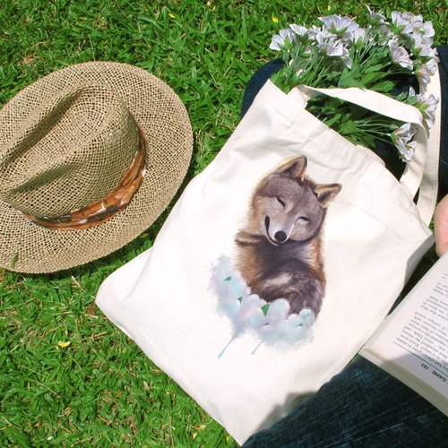Cloud accompany your Christmas Cultural & Creative wind straight canvas bag
