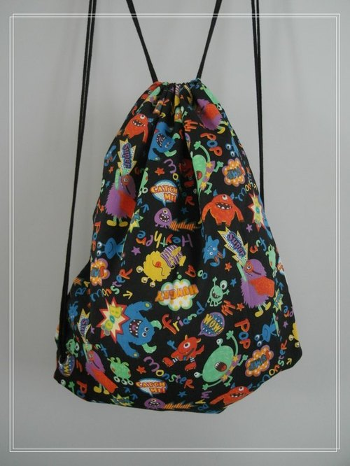 ~ M + Bear ~ Vintage Drawstring Backpack (little monster-like)