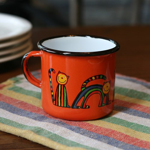 Smaltum Prague enamel cup curve meow microphone _ orange (250ml) <FDN000148>