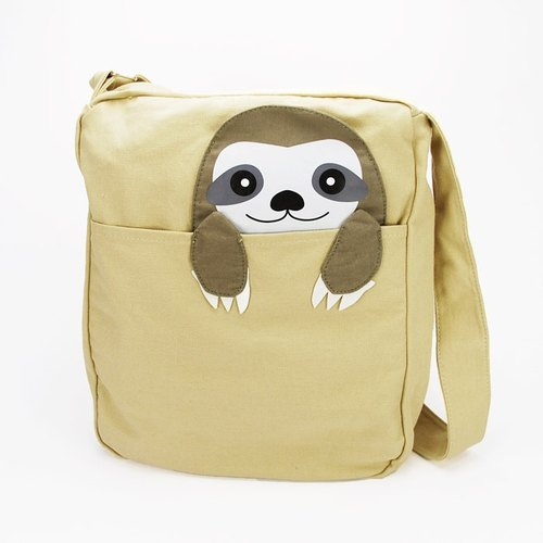 Sleepyville Critters - Peeking Sloth Canvas Messenger Bag